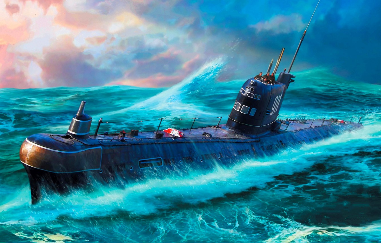 Photo wallpaper Wave, USSR, submarine, THE SOVIET NAVY, Diesel-electric, проекта 641, Б-36