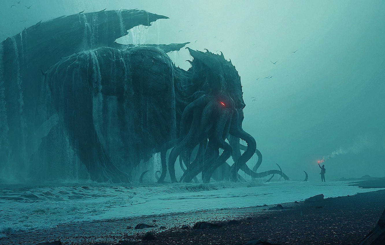 Photo wallpaper Cthulhu, Cthulhu, sea, behemoth, tide, Andree Wallin
