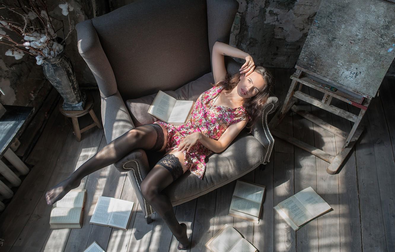 Photo wallpaper look, girl, pose, feet, books, chair, stockings, dress, Daria, Dmitry Lebedev