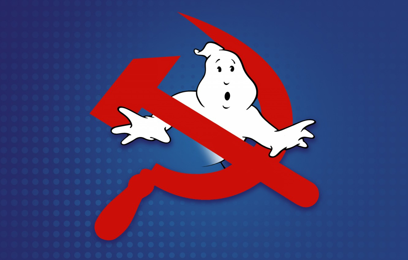 Photo wallpaper Minimalism, Ghost hunters, Ghost, Joke, The hammer and sickle, The Specter Of Communism