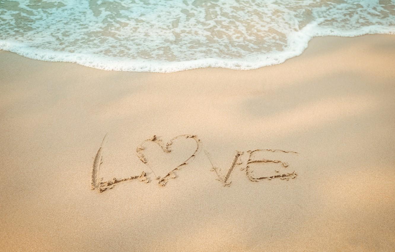 Photo wallpaper sand, sea, wave, beach, summer, summer, love, beach, sea, heart, blue, sand, wave