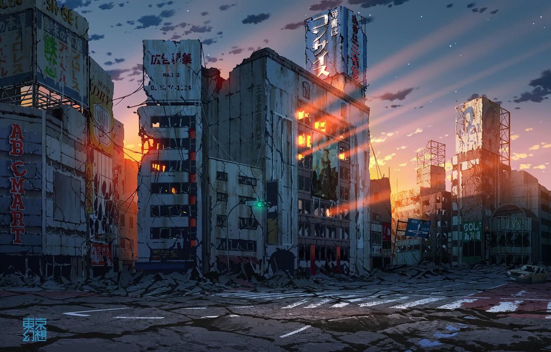 Photo wallpaper auto, sunset, Japan, Tokyo, ruins