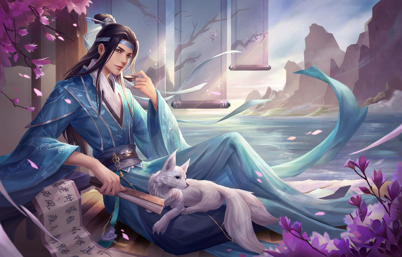 Photo wallpaper lake, rocks, fantasy, fan, art, guy, Fox, WY C, Illustration of the character