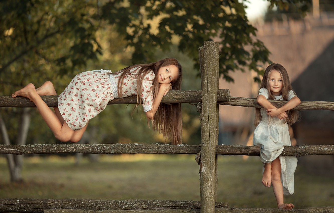 Photo wallpaper summer, childhood, girls, village, sisters, the fence