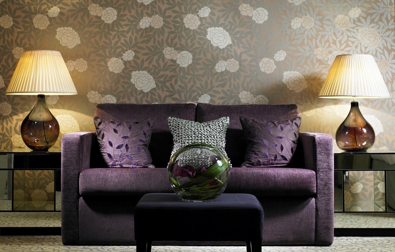 Photo wallpaper sofa, furniture, lamp, interior