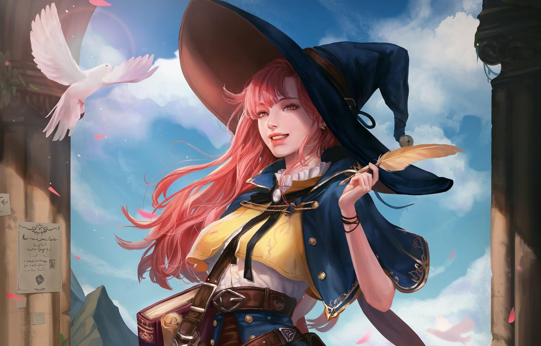 Wallpaper Girl Fantasy Art Style Minimalism Face Hat