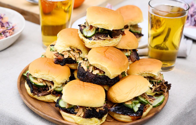 Photo wallpaper bread, quantity, hamburgers
