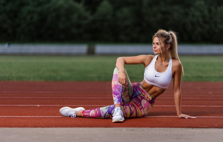 Photo wallpaper girl, pose, sport, topic, treadmill, leggings, Ilya Pistols, Nastya Mikheeva