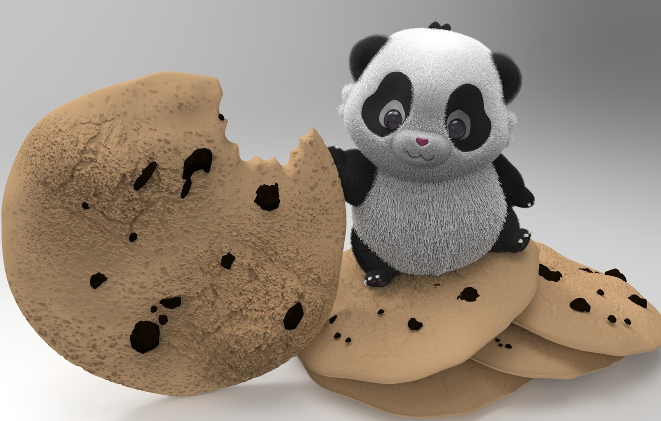 Photo wallpaper rendering, cookies, art, Panda, CookieMonster, Monika Mihok