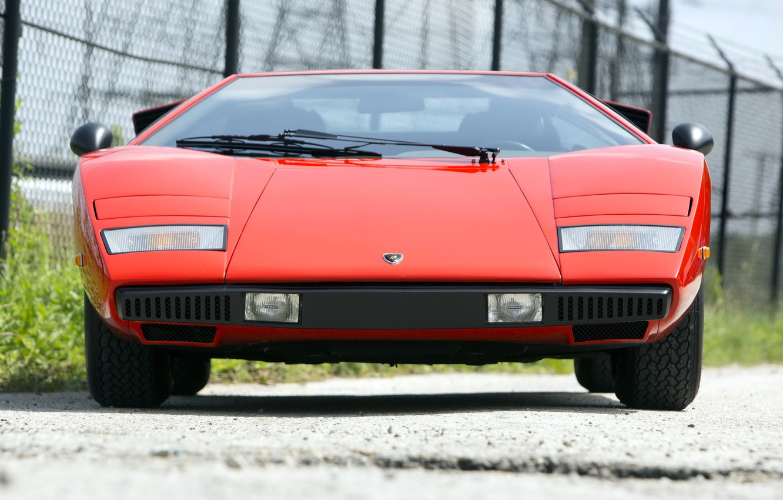 Photo wallpaper Retro, Supercar, Front view, Lamborghini Countach LP400