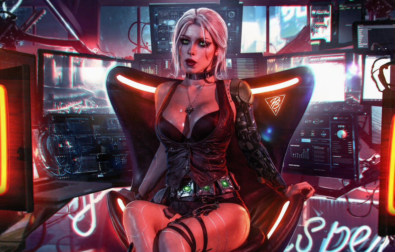Photo wallpaper Girl, The game, Art, Digital Art, Witcher, Fan Art, Character, Cyberpunk 2077, Swallow, CRIS, Witcher …