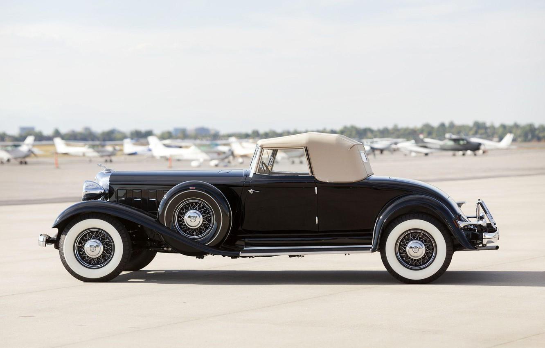 Photo wallpaper Roadster, black, side view, retro, Convertible, Chrysler Custom Imperial