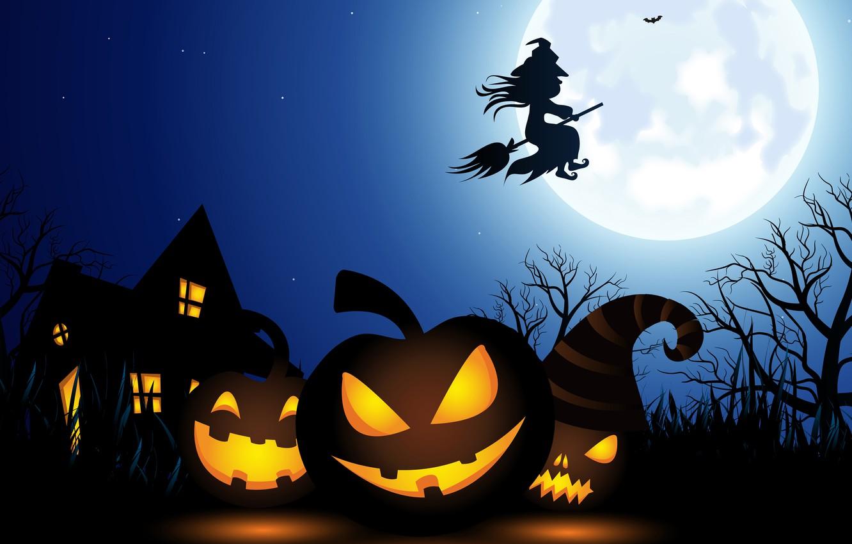 Photo wallpaper lights, vector, Halloween, moon, house, fantasy, sky, night, stars, tree, holiday, artwork, fantasy art, witch, …