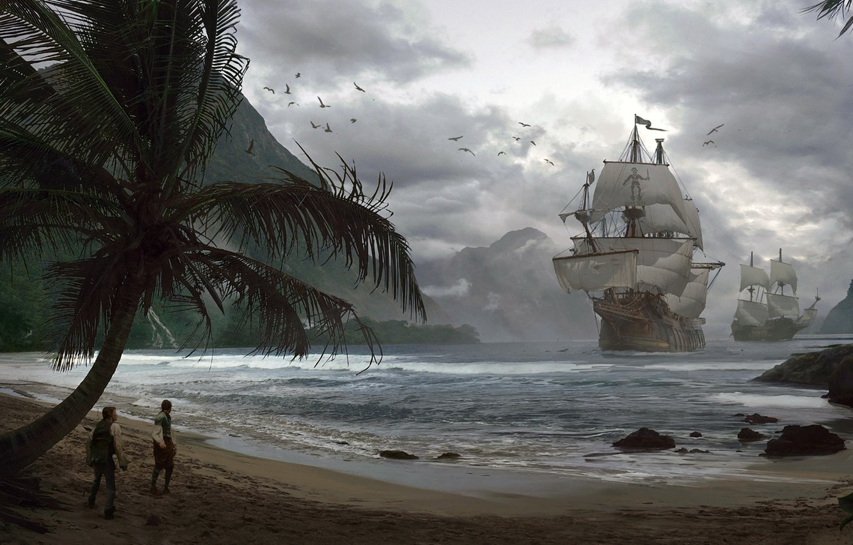 Photo wallpaper ships, Bay, pirates, Pirates, Adrian Marc