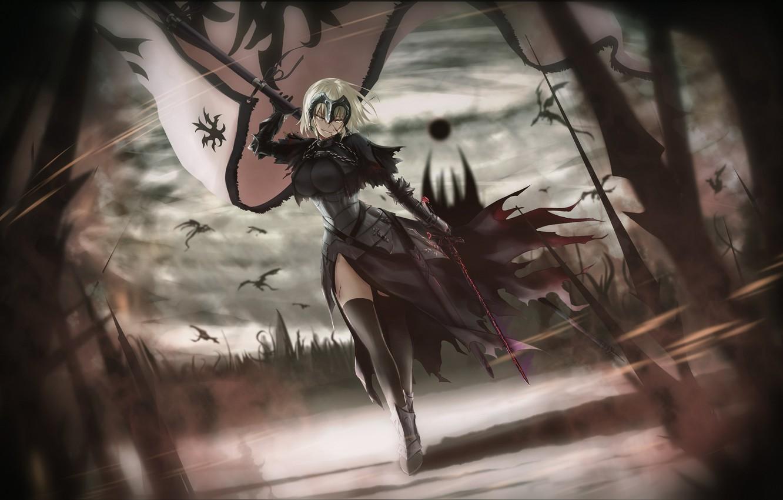 Photo wallpaper girl, sword, fantasy, armor, weapon, war, anime, flag, warrior, fantasy art, dragons, pearls, illustration, banner, …