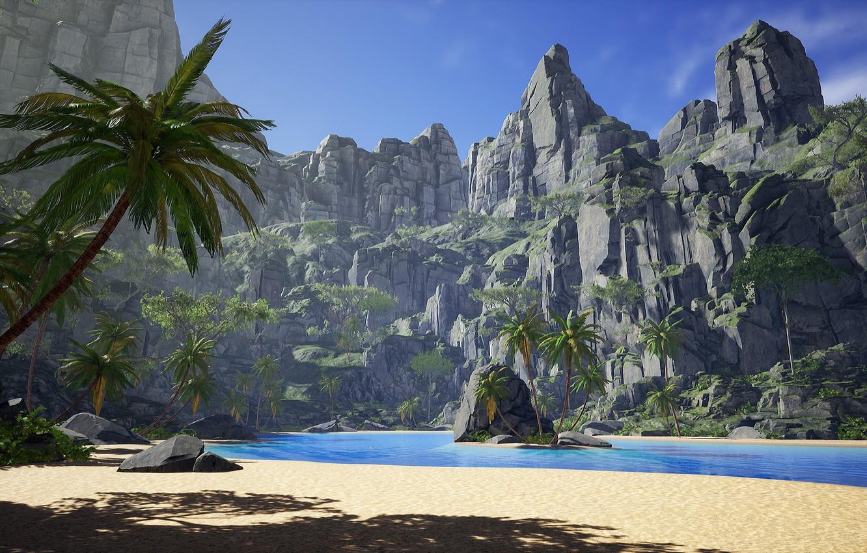 Photo wallpaper palm trees, rocks, Laguna, island, Tropical island