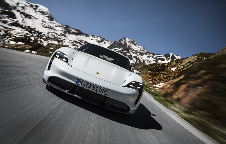 Photo wallpaper speed, Porsche, front view, Turbo S, 2020, Taycan