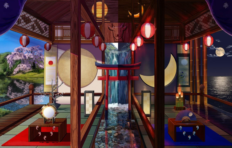 Photo wallpaper room, interior, Japanese style