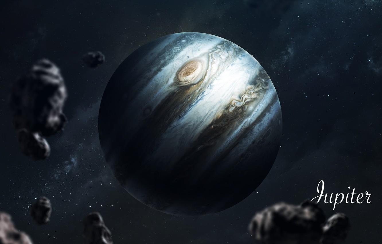 Photo wallpaper Stars, Planet, Space, Jupiter, Art, Stars, Space, Art, Planet, Universe, Galaxy, Asteroids, System, Jupiter, Science ...