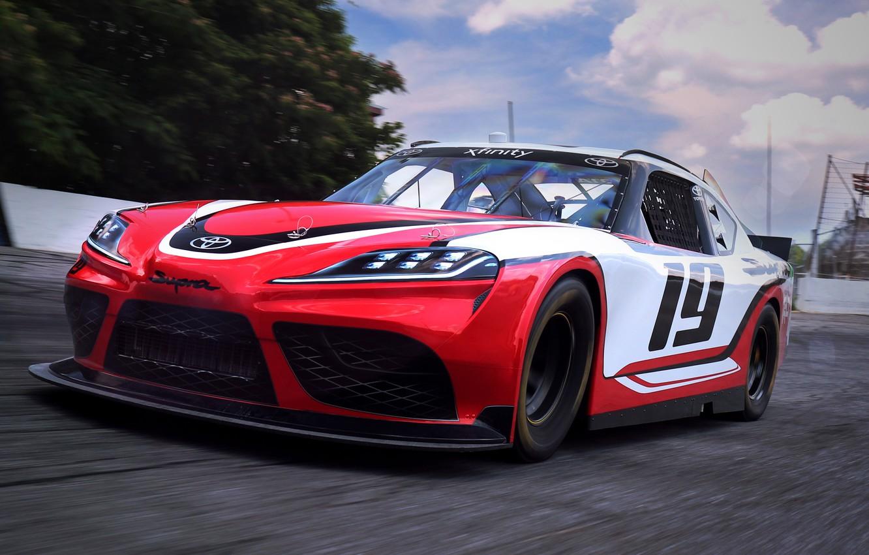 Photo wallpaper speed, racing car, Toyota, Supra, 2019, Xfinity