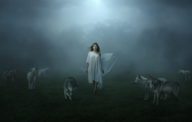 Photo wallpaper girl, fog, wolves