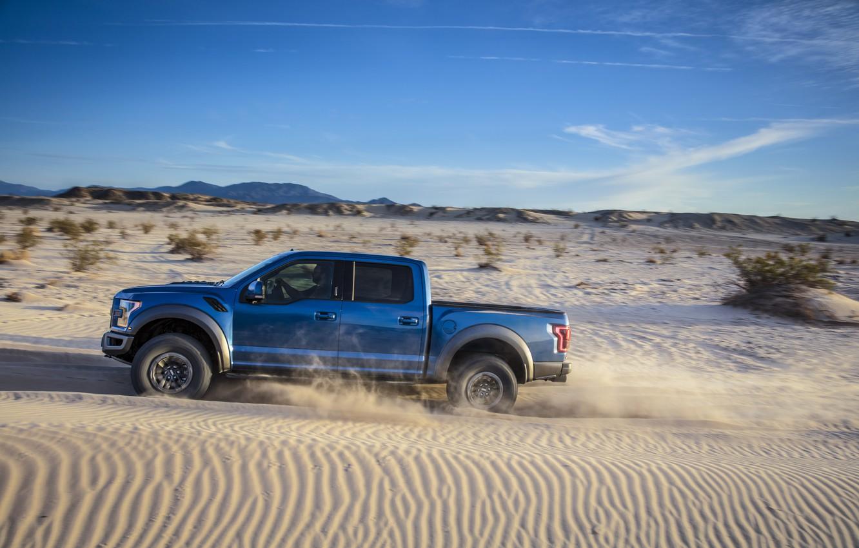 Photo wallpaper Ford, Sand, Desert, Speed, Raptor, F-150, Dune, 2019, Ford F-150 Raptor