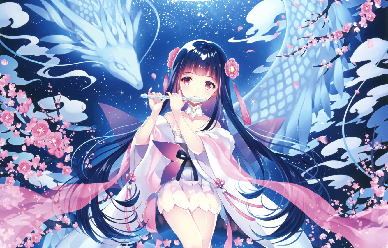 Photo wallpaper girl, dragon, flute