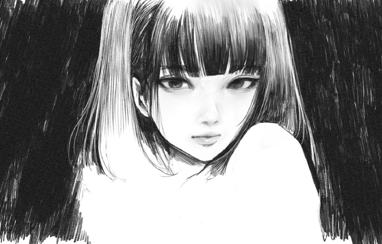 Photo wallpaper face, black and white, bangs, portrait of a girl, pencil drawing, by Wataboku