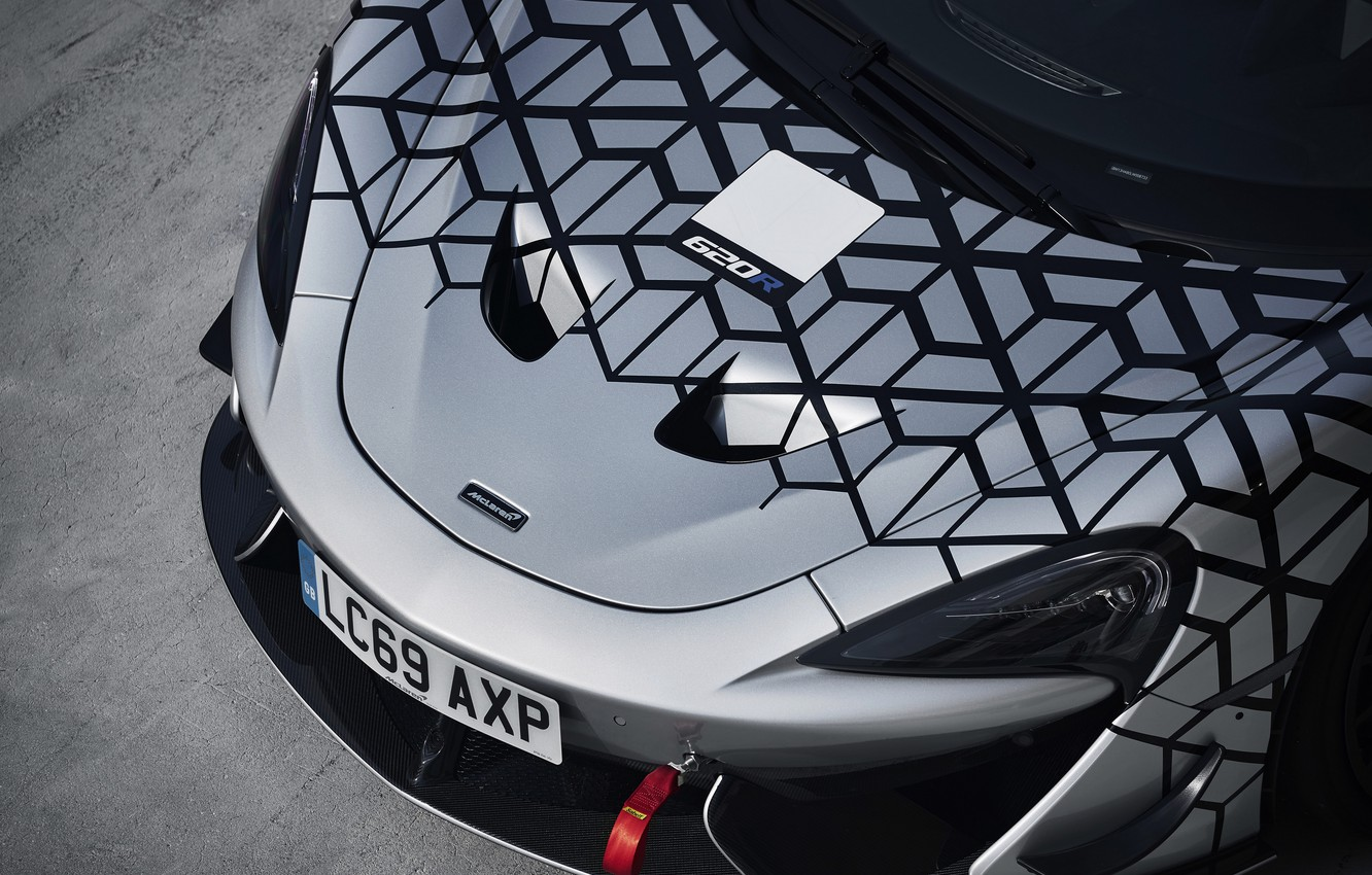 Photo wallpaper coupe, McLaren, the hood, before, 2020, V8 twin-turbo, 620R, 620 HP, 3.8 L.