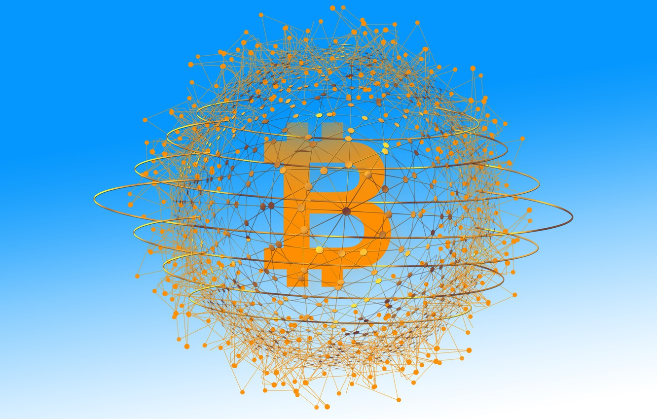 Photo wallpaper threads, coin, bitcoin, electronic currency