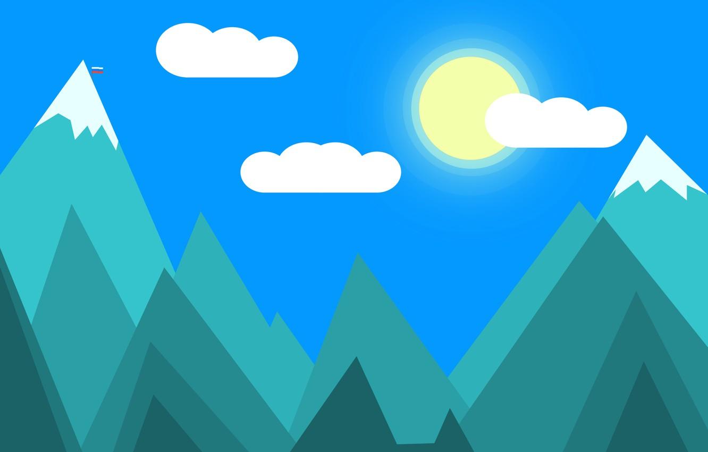 Photo wallpaper mountains, morning, flag, Day, snow-capped peaks, snow-capped mountains, day the mountain, mountain expanses