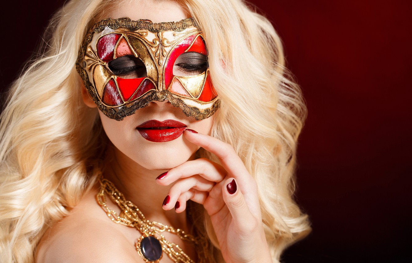 Photo wallpaper girl, decoration, close-up, face, background, hand, makeup, mask, hairstyle, blonde, bokeh, manicure