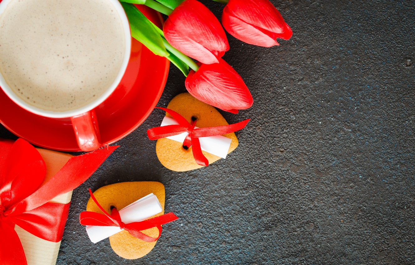 Photo wallpaper love, flowers, gift, bouquet, hearts, tulips, red, red, love, flowers, romantic, hearts, tulips, coffee cup, …