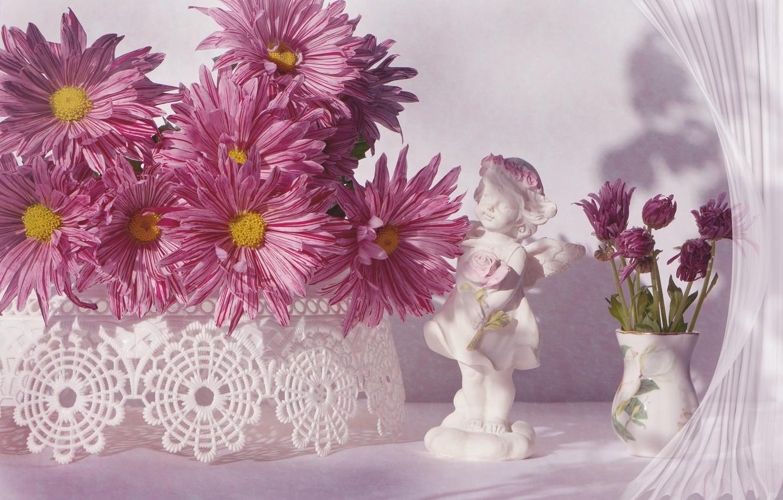 Photo wallpaper flowers, vase, figurine, pink, chrysanthemum