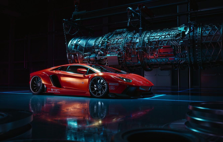 Photo wallpaper Lamborghini, Red, Front, LP700-4, Aventador, Liberty Walk