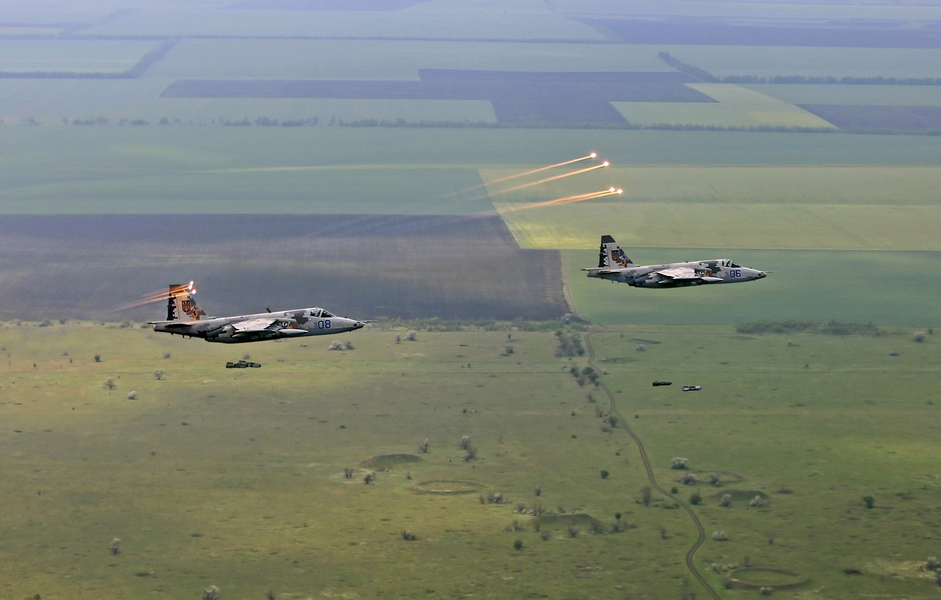Photo wallpaper flight, Dry, Su-25, Attack, Ukrainian air force