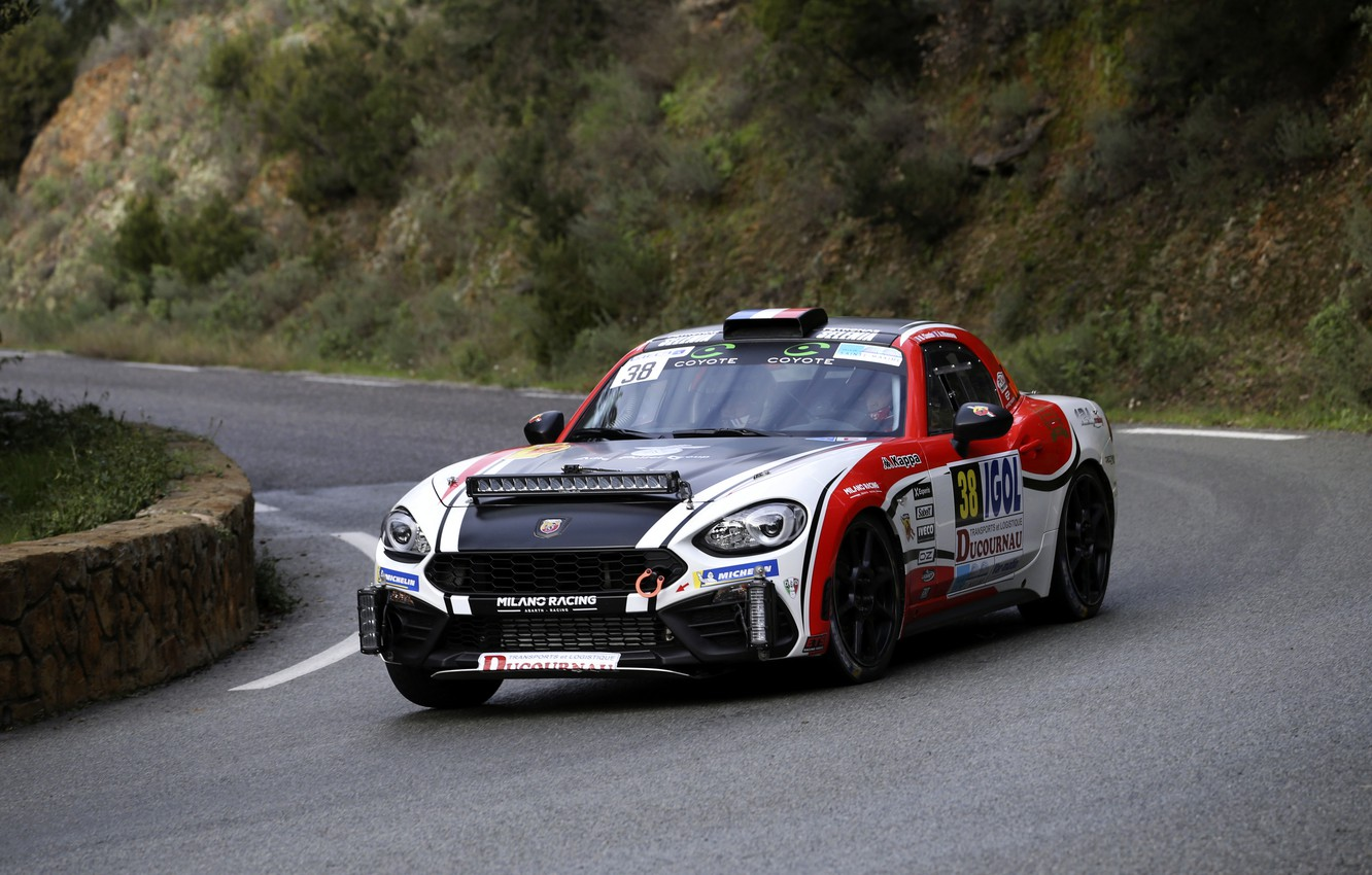 Photo wallpaper turn, the fence, rally, 2018, Abarth, 124 Rally