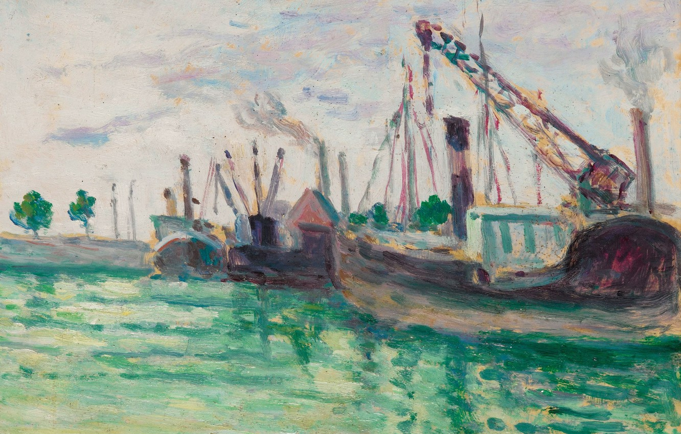 Photo wallpaper picture, port, 1933, Honfleur, Maximilien Luce, Maximilien Luce