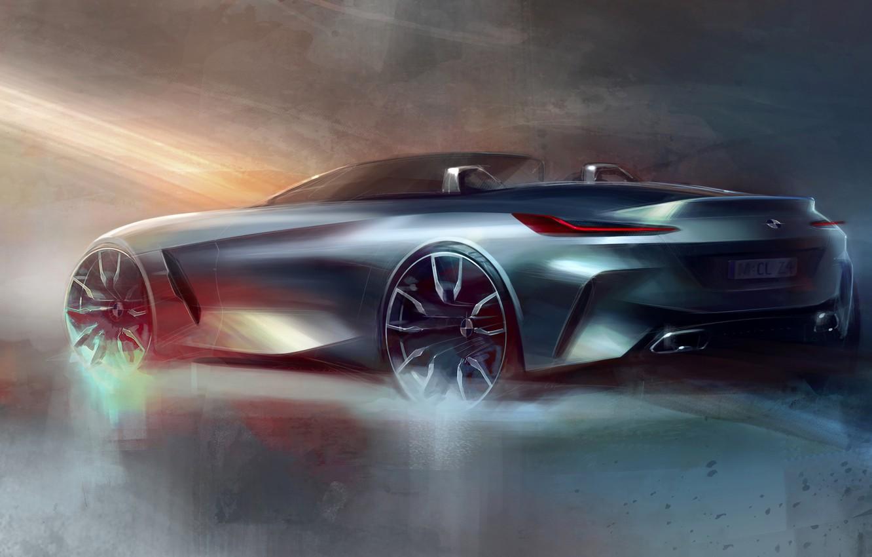 Photo wallpaper figure, BMW, sketch, back, Roadster, side, BMW Z4, Z4, 2019