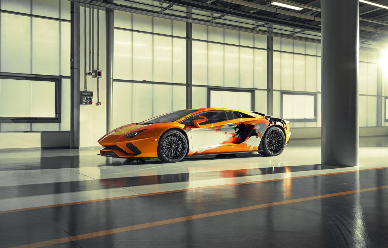 Photo wallpaper machine, reflection, lights, Lamborghini, sports car, drives, bulls, Aventador S, Skyler Grey