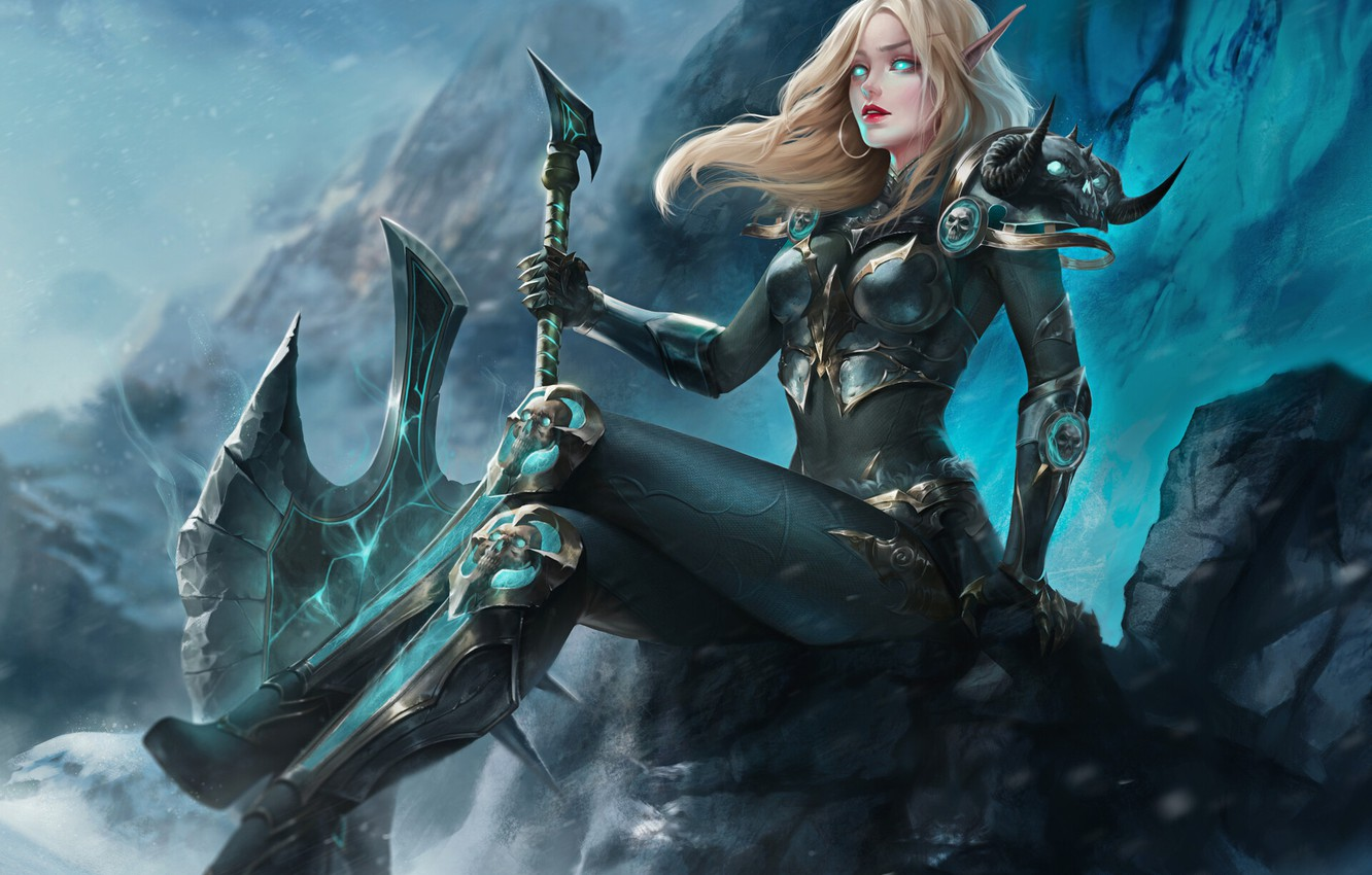 Wallpaper Girl The Game Blonde Armor Wow Blizzard