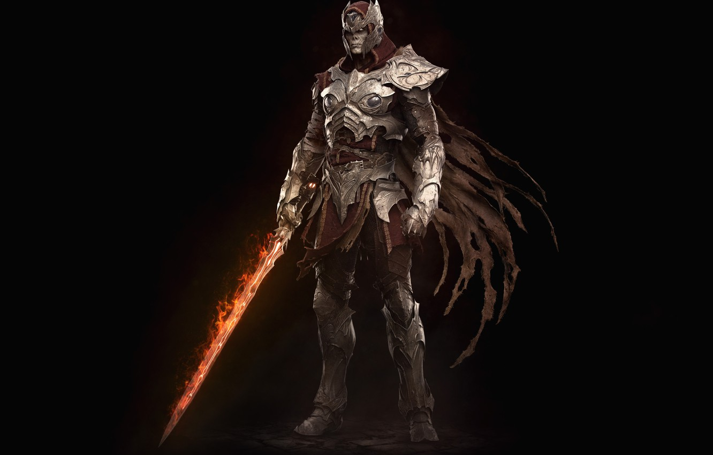 Photo wallpaper fire, sword, armor, undead, Mega Man in Dark Souls, Keos Masons, Ashen Zero