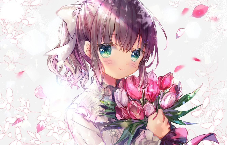 Photo wallpaper girl, flowers, portrait, bouquet, tulips