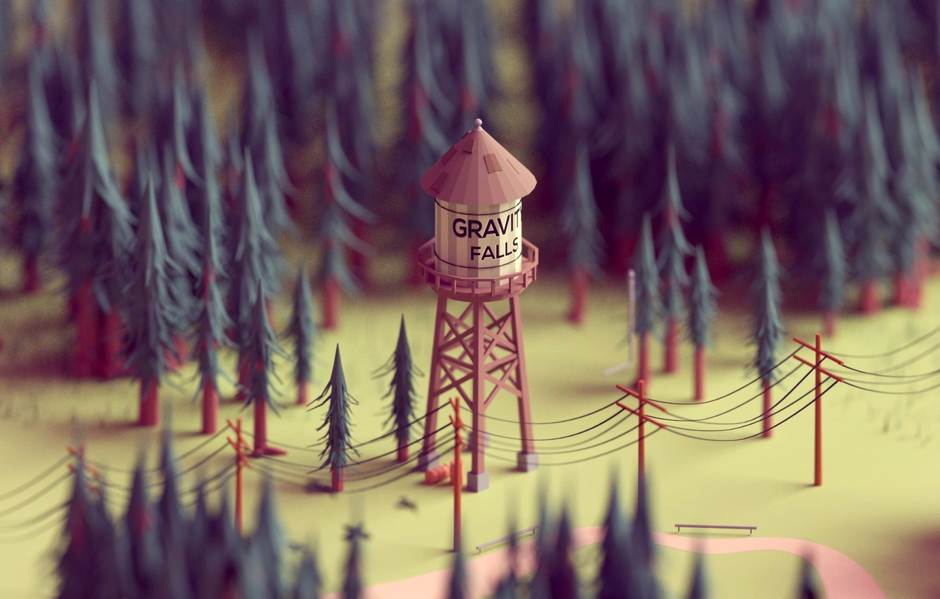 Photo wallpaper forest, posts, wire, model, tree, tower, the animated series, gravity falls, water tower