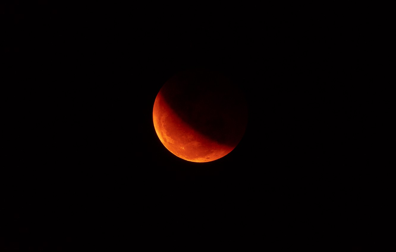 Photo wallpaper space, the moon, Eclipse