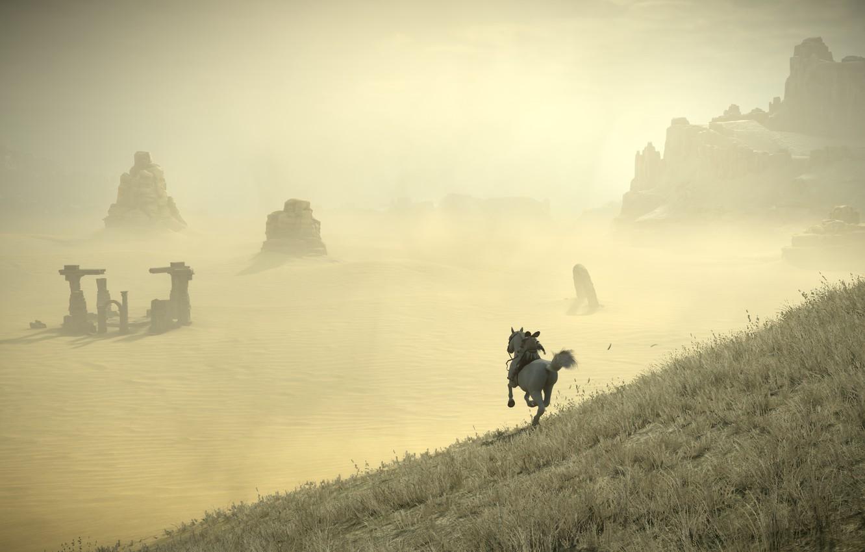 Photo wallpaper rocks, desert, rider, ruins, Shadow of the Colossus, In the shadow of the colossus