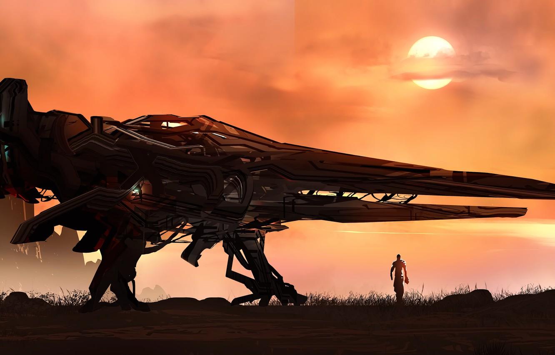 Photo wallpaper fantasy, science fiction, sun, man, sci-fi, digital art, artwork, fantasy art, Spaceship, illustration, futuristic, astronaut