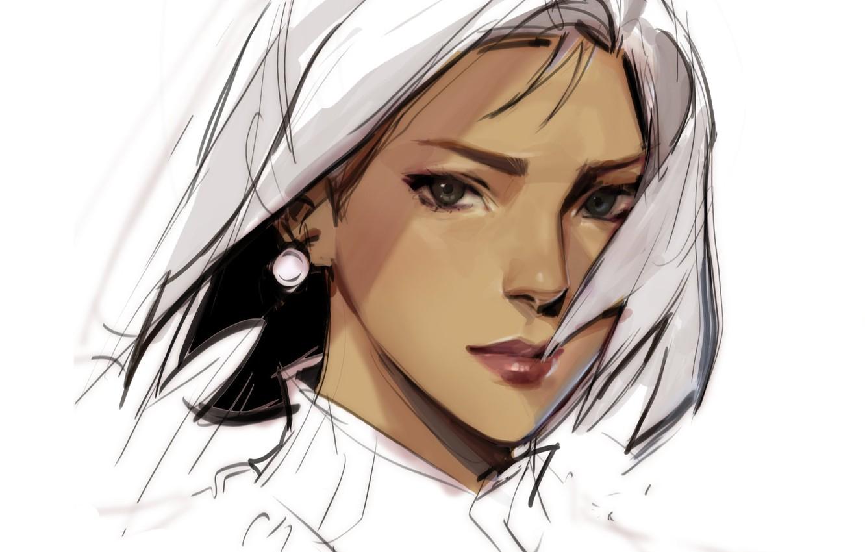 Photo wallpaper look, face, figure, white background, earring, art, portrait of a girl, Julia Shi