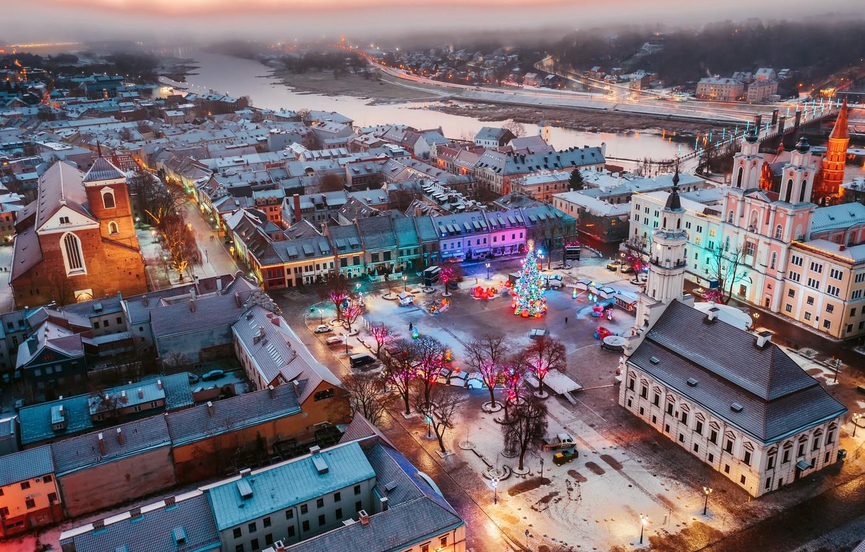 Photo wallpaper winter, the city, tree, Lithuania, Kaunas