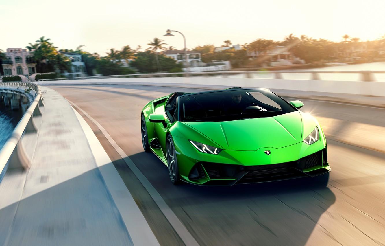 Photo wallpaper road, machine, the sky, speed, Lamborghini, sports car, Spyder, Evo, Huracan